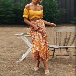 Yellow flower print two-piece set