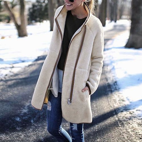 A Stylish High-Collar Zipper Button Long-Sleeved Coat