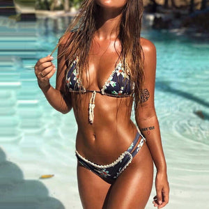 JOJORUBY Halter  Backless Frayed Trim  Printed Bikini