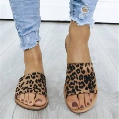 JOJORUBY Fashion Round Head Leopard Flat Slippers