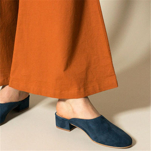 JOJORUBY Ladies Fashion Suede Low Heel Slipers