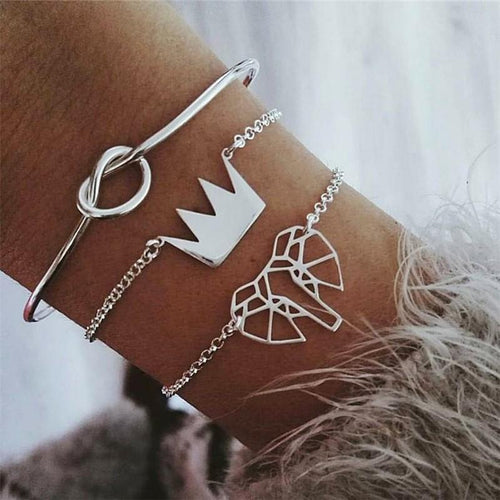 JOJORUBY Fashion Crown elephant alloy bracelet three   piece combination