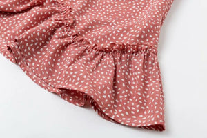 JOJORUBY Summer Off Shoulder Polka Dot Printed Falbala Dress