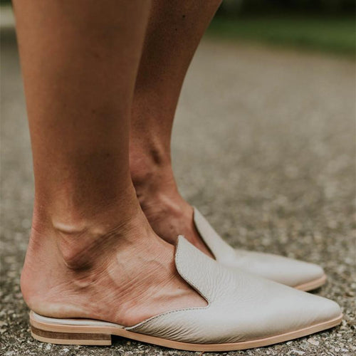 JOJORUBY 2019 Pointed Toed Plain Flat Soft Outdoor Mules Slippers