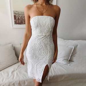 Fashion Bandeau Side Split Lace Mini Dress