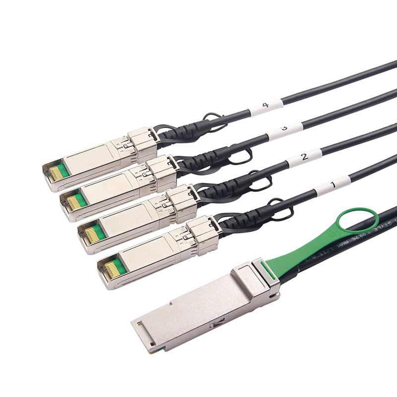 QSFP+ to 4 SFP+ Copper Breakout Cable, 0.5m/1m/2m/3m/5m