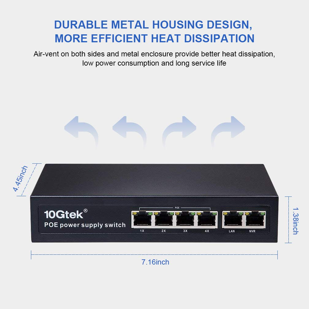 4/8 Port Fast Ethernet PoE Switch, Plug-and-Play, Lifetime Protection for IPTV, IP Camera, VoIP Phone, WiFi AP
