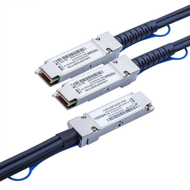 QSFP28 100Gbps to 2*50G(50Gbps) DAC(Direct Attach Copper) Breakout Cable, Passive