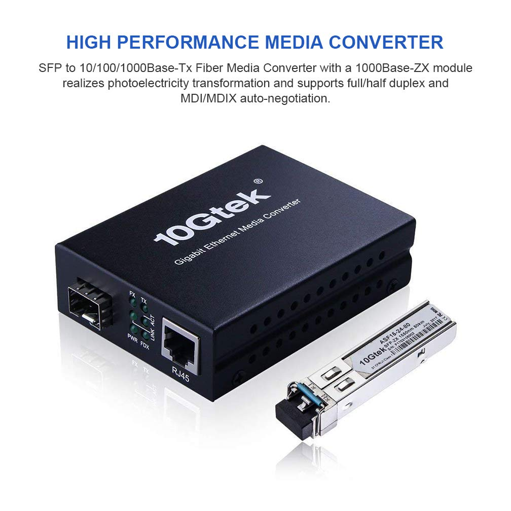 Gigabit Ethernet Media Converter, Multi-mode/Single-mode Dual LC Fiber, 1.25Gb/s SFP Module to 10/100/1000Base-Tx Fiber Media Converter