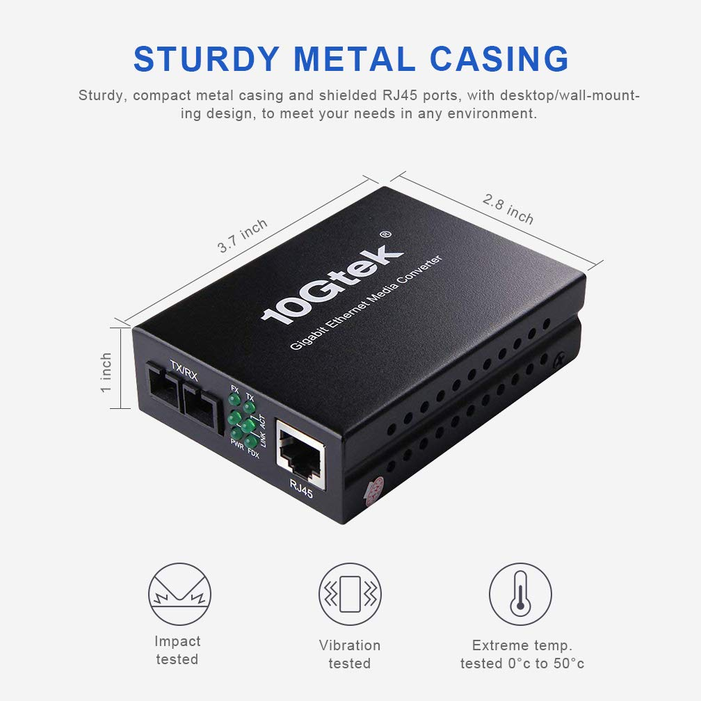 Gigabit Ethernet Media Converter, Multi-mode/Single-mode Dual SC Fiber, 10/100/1000Base-Tx Copper to Fiber Media Converter
