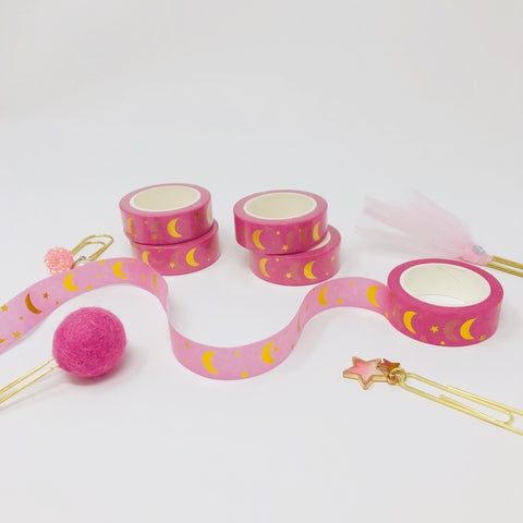 FOILED - Moon 15mm Washi Tape: Bubblegum - thestickiecommittee