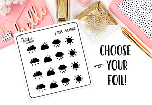 FOILED - 2 Dollar Tuesday Weather // Foil Planner Stickers - thestickiecommittee