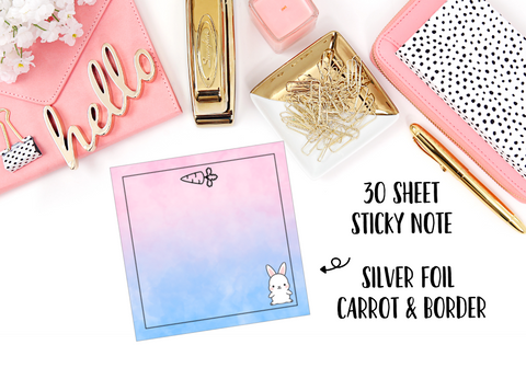 FOILED Sticky Notes // Easter Bunny // 30 Sheets - thestickiecommittee