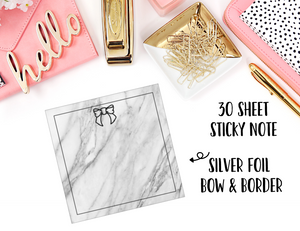 FOILED Sticky Notes // Marble Bow // 30 Sheets - thestickiecommittee