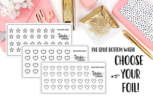 FOILED - Pre Split Clear Mickey, Heart or Star Bottom Washi - thestickiecommittee