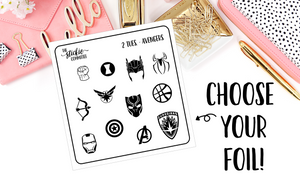 FOILED - 2 Dollar Tuesday Avengers Superhero Icon Planner Stickers - thestickiecommittee