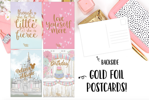 Gold FOILED Postcards // A6 Size Foil Dashboard // Planner Accessories // 4 X 6 Postcard - thestickiecommittee