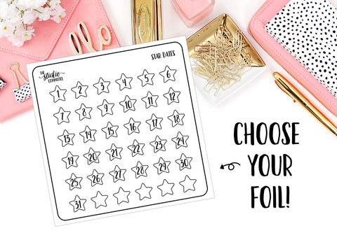 FOILED - Star Date Number Stickers // Planner Stickers - thestickiecommittee