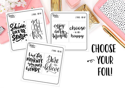FOILED - 2 Tuesday foil planner stickers // Quote Box Pair - thestickiecommittee