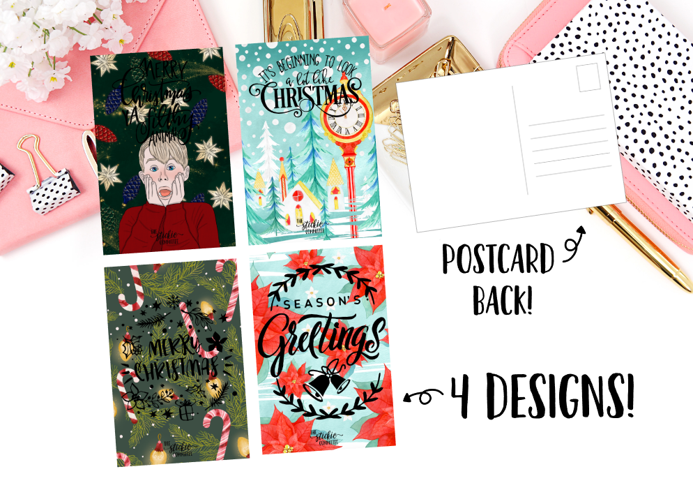 Gold FOILED Holiday Postcards // A6 Size Foil Dashboard // Planner Accessories // 4 X 6 Postcard