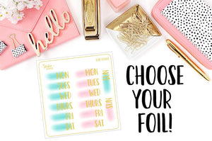 FOILED - Water Color Date Covers // Blue And Pink // Planner Stickers // Choose Your Foil! - thestickiecommittee