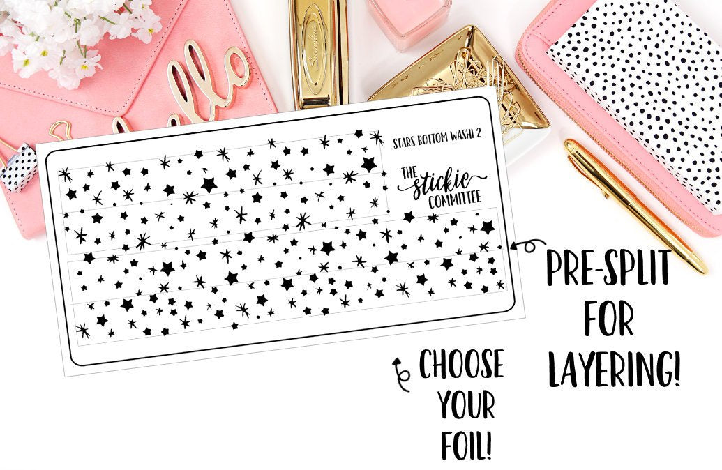 FOILED - Pre Split Clear Star Bottom Washi - thestickiecommittee