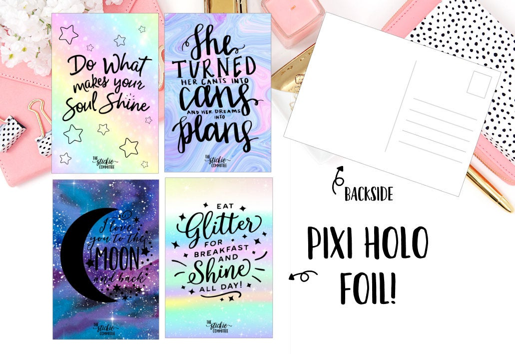 Pixi Holographic FOILED Postcards // A6 Size Foil Dashboard // Planner Accessories // 4 X 6 Postcard - thestickiecommittee