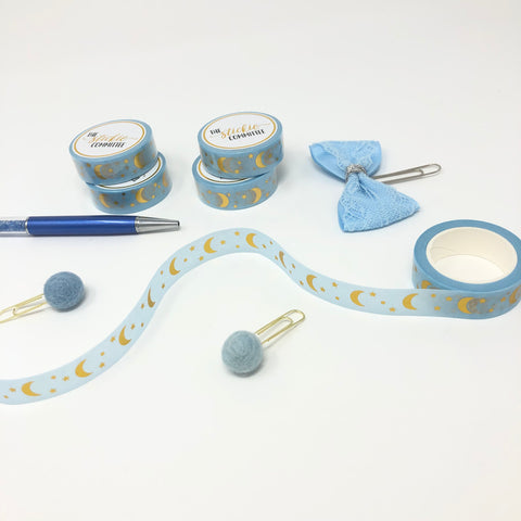 FOILED - Moon 15mm Washi Tape: Baby Blue - thestickiecommittee