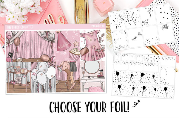 FOILED Sticker Kit // Pink Party // 8 Page Kit with 2 Full Foil Pages! // Glitter Header Add-on Option - thestickiecommittee