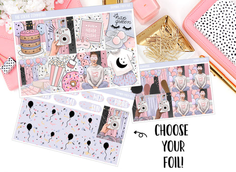 FOILED Sticker Kit // Slumber Party // 8 Page Kit with 2 Full Foil Pages! // Glitter Header Add-on Option - thestickiecommittee