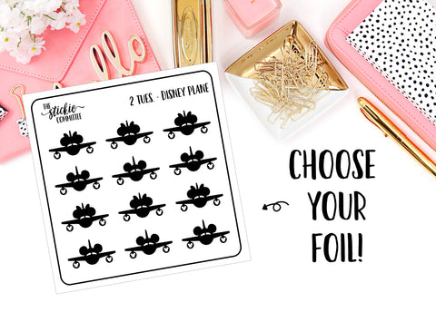 FOILED - 2 Tuesday Disney Plane // Planner Stickers // Foil Overlay - thestickiecommittee