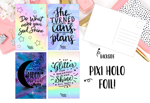 Pixi Holographic A6 Postcard // 4 designs - thestickiecommittee
