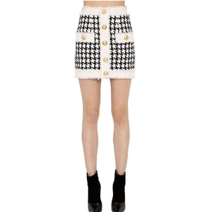 Houndstooth Tweed Skirt - Coco & Mumu Co.