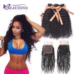 BEAUDIVA Brazilian Kinky Curly Human Hair Bundles With Closure 4*4 NoneRemy Deep Curly Wave Bundles With Closure Hair Extension