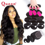 Queen Hair Products Brazilian Body Wave Hair Weave Bundles With Closure Brazilian Virgin Hair Human Hair Bundles With Closure