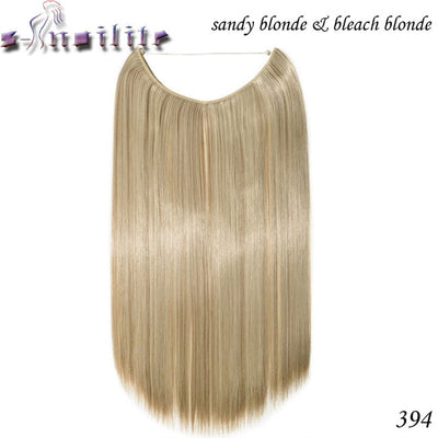 S-noilite 20 inches Invisible Wire No Clips in Hair Extensions Secret Fish Line Hairpieces Silky Straight real natural Synthetic