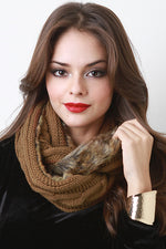 Knit and Fur Infinity Scarf, Accessories, Scarves - Fizici.com | Women's Fashion & Clothing, Footwear & Accessories 2018