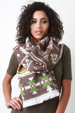 Multicolor Tribal Knit Scarf, Accessories, Scarves - Fizici.com | Women's Fashion & Clothing, Footwear & Accessories 2018