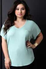 Ribbed Knit V-Neck Pocket Top, Plus Sizes, Tops + - Fizici.com | Women's Fashion & Clothing, Footwear & Accessories 2018