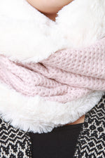 Faux Fur and Knitted Circle Scarf, Accessories, Scarves - Fizici.com | Women's Fashion & Clothing, Footwear & Accessories 2018
