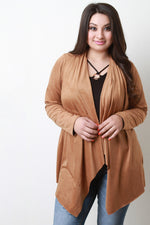 Long Sleeve Vegan Suede Cardigan, Plus Sizes, Tops + - Fizici.com | Women's Fashion & Clothing, Footwear & Accessories 2018