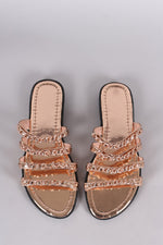 Metallic Strappy Chain-Embellished Open Toe Slip On Sandal