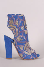 Shoe Republic LA Floral Embroidery Peep Toe Chunky Heeled Booties, Shoes, Booties - Fizici.com | Women's Fashion & Clothing, Footwear & Accessories 2018