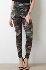 Camouflage Print Jersey Knit High Waist Leggings, Clothes, Leggings & Tights - Fizici.com | Women's Fashion & Clothing, Footwear & Accessories 2018