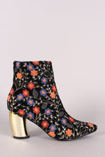 Embroidered Floral Banana Heeled Booties, Shoes, Booties - Fizici.com | Women's Fashion & Clothing, Footwear & Accessories 2018
