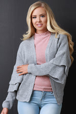 Open Front Statement Sleeves Sweater Knit Cardigan, Clothes, Sweaters - Fizici.com | Women's Fashion & Clothing, Footwear & Accessories 2018