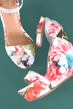 Bamboo Floral Print Ankle Strap Platform Wedge, Shoes, Wedges - Fizici.com | Women's Fashion & Clothing, Footwear & Accessories 2018