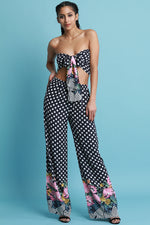 Polka-Dot Floral Trim Bandeau Sash with Palazzo Pants Set, Clothes, Pants & Jeans, Tops - Fizici.com | Women's Fashion & Clothing, Footwear & Accessories 2018