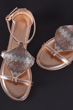 Bamboo Jeweled Shield Open Toe Flat Sandal, Shoes, Sandals - Fizici.com | Women's Fashion & Clothing, Footwear & Accessories 2018