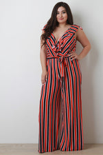 Ruffle Surplice Striped Palazzo Jumpsuit, Plus Sizes, Rompers & Jumpsuits + - Fizici.com | Women's Fashion & Clothing, Footwear & Accessories 2018